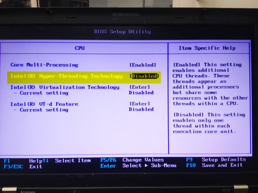 Disabling Hyper-Threading-Technology in BIOS